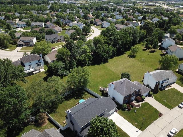 An image of a bird's eye view of a neighborhood.